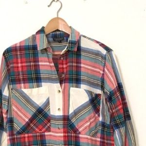 Topshop Oversized Tartan Plaid Tunic Shirt Pockets